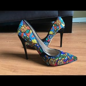 Nicole Miller Beaded Heels size 5.5 worn once.